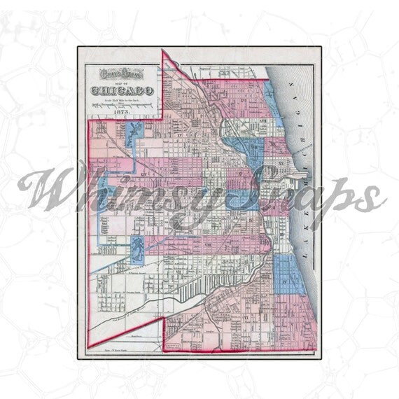 Chicago 1873 Beautiful Vintage Map DIGITAL IMAGE Download