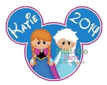 Disney FROZEN Iron On Transfer, Elsa, Anna, Birthday, Printable, Personalized, Frozen Movie, Disneyworld
