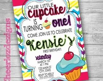 Colorful Birthday Invitation- 1st birthday-Custom-Printable-Cupcake