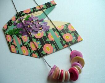 Vintage Button Necklace,  Pink Button Necklace, Turquoise Button Necklace, Purple Necklace,Blue Button Necklace,Vintage Button, Marjorie Mae