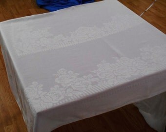 Antique Vintage White Irish Linen Double Damask Tablecloth 69x82 116