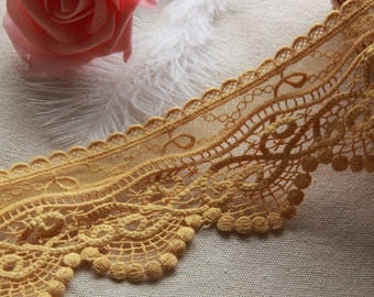 Yellow Floral Lace Trim Embroidery Tulle Lace Trim 2.75 Inch Wide 2 Yards L0305