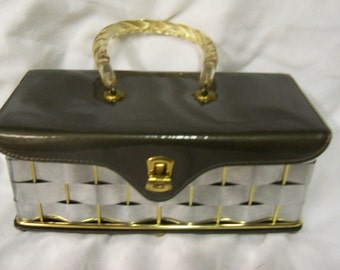 VTG Metal Weave Box Purse with Twisted Lucite Handle.