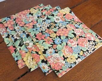 Cloth napkins, floral cotton lawn fabric, set of four