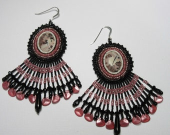Chinese Picture Stone Earrings