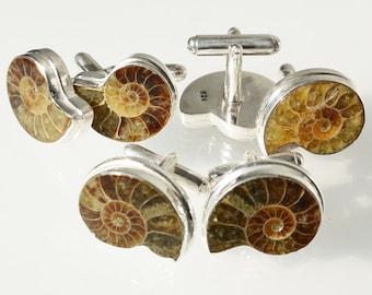 Ammonite Sterling Silver Cufflinks Medium