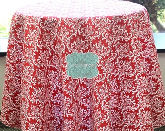 Tablecloth - Premier Prints - MADISON Damask - White Lipstick - Choose Your Size - Table Linen Wedding Home Decor Dining Kitchen