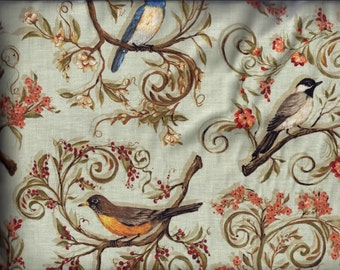 Bird Valance Beautiful Light Green Birds in the Branches Curtain