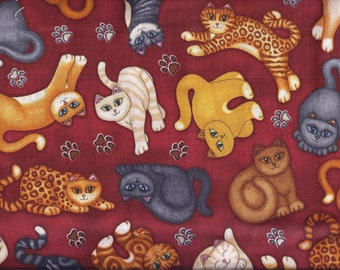 Cats Burgandy Black Tabby Tiger Curtain Valance