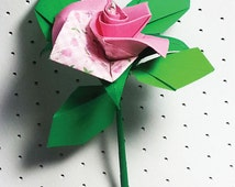 Two Toned Origami Rose    Download Digital  File    Origami Pattern    PDF Instant Download    DIY Supplies    Handmade
