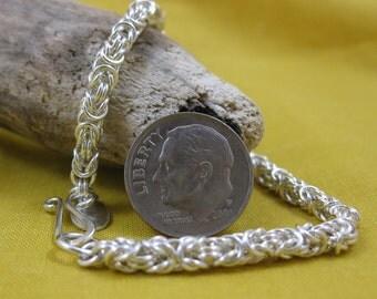 Bracelet Argentium Silver Byzantine Weave Chain Maille