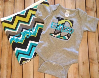 Personalized bodysuit and burp cloth