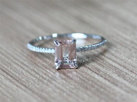 6x8mm fancy emerald cut pink morganite ring 14k white by