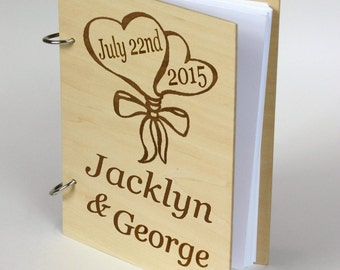 Wedding Guest book, Rustic Wood Guestbook, Laser Engraved Guestbook,Bridal Shower Gift