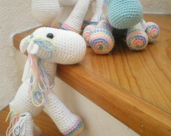 Unicorn Pony and Zebra fabric snowman amigurumi
