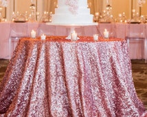 """Rose Sequin 108"""" Round Sparkly Rose Pink Sequin TableCloth Glitz Sequined Table Linen Glittery Wedding Cake Table Wholesale Event Linens"""