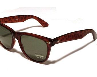 Vintage tortoise large wayfarer sunglasses with impact resistant  green glass lenses