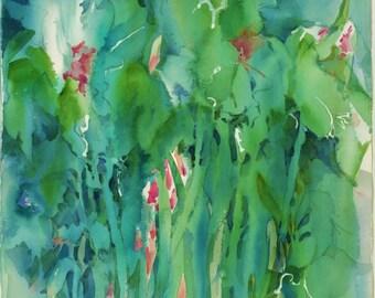 TALL BLUE IRIS an original by the artist, not a print 22 x 15