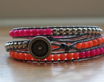 3 wrap beaded bracelet in neon pink, orange and silver