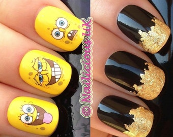 Funny Nail Decals Etsy - Spongebob nail decals