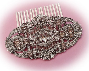 Art Deco vintage 1920's inspired bridal hair comb silver colour