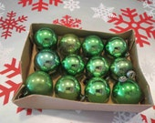 "Dozen Green Mini Glass Christmas Ornaments in Box - 7/8"" - 1"""