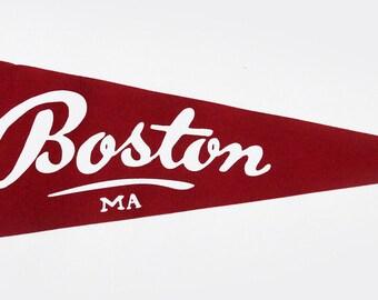 Classic Boston Pennant - Crimson and White
