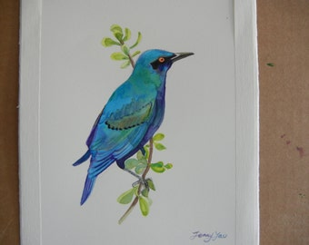 Original Water color painting,blue bird 9x11 in, blue, green, purple,animal