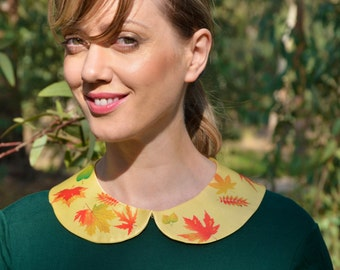 Collar Necklace / Women Detachable Autumn Leaves Peter Pan Collar Necklace