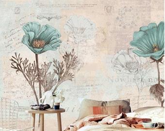 Watercolor Blooms Wallpaper Fresh Spring Flower Leaves