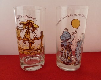 Two HOLLY HOBBIE Vintage Kitchen Glassware American Greetings