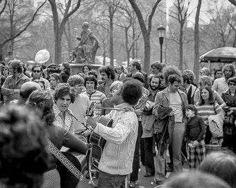 Vintage Black and White Photography Fine Art Print, Musicians In Central Park