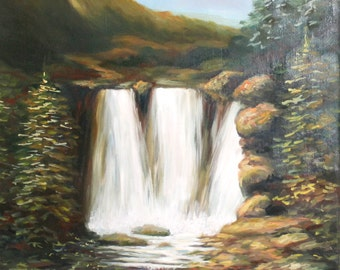 European art oil painting landscape 1970's waterfall signed