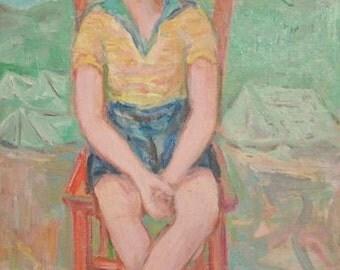 European art oil painting child portrait 1972 signed