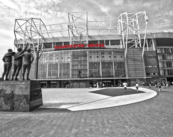 Old Trafford B & W with Manchester United Red lettering Canvas Picture Wall Art
