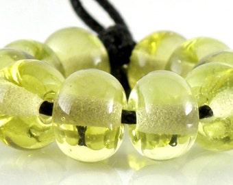 090 Transparent Kelp Yellow/Green Made to Order SRA Lampwork Handmade Artisan Glass Spacer Beads Set of 10 5x9mm