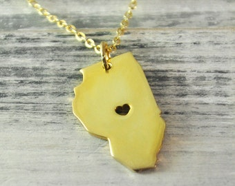 I  heart  Illinois  Necklace  Illinois pendant 18K gold plated state necklace state pendant map pendant  hammered state necklace map jewelry