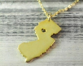 I heart New Jersey Necklace New Jersey pendant 18K gold plated state necklace state pendant map pendant hammer state necklace Mother gift