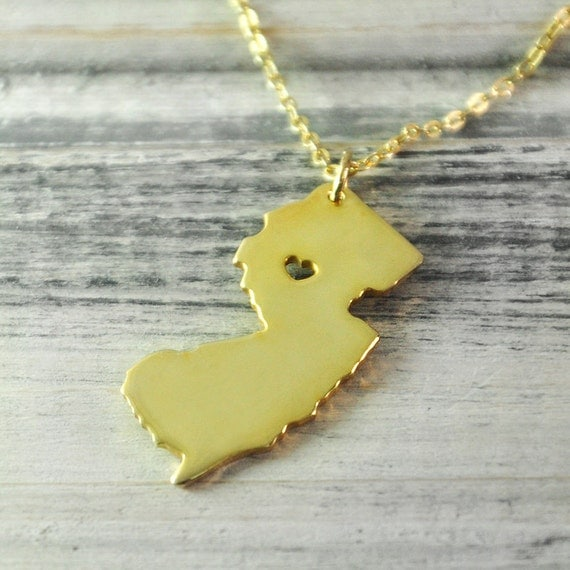 i new jersey necklace new jersey pendant 18k gold plated