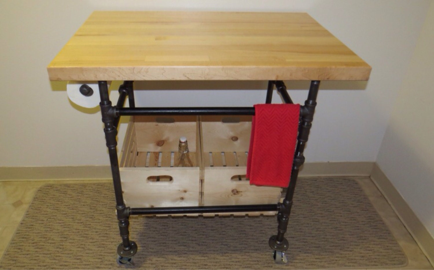 Custom made kitchen island butcher block by blackironworks for Custom made kitchen islands