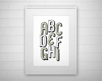 Typography Art Print - ABCDEFGHI - Letter poster - Printable - Wall Art
