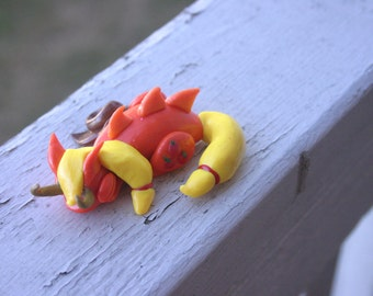 Handmade Polymer Clay Sleeping Dragon Applejack from My Little Pony: Friendship is Magic