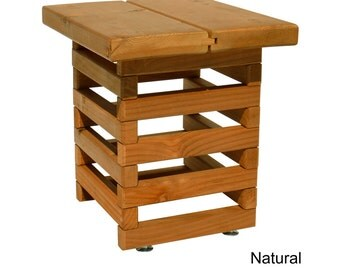 TROOPS BBQ Redwood Outdoor End Table, Natural Stain (8000140)