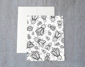 "Honey Bee Pattern Greeting Card A2 (4.25"" x 5.5"") Hand Drawn Illustration Card"