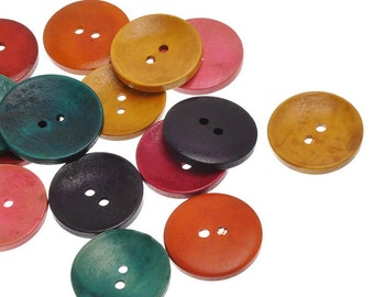 2014 New 50PCs Wooden Buttons 2 Holes Circular Shape Mixed Colors 35mm x35mm