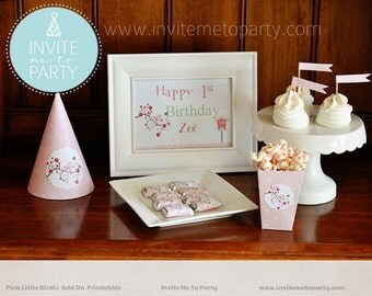 Pink Little Birdie Party Decoration Printables Add On