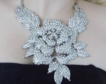 Silver Crystal Rose Statement Necklace