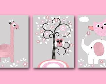 Elephant Nursery Giraffe Nursery Digital Print Printable Art Baby Girl Nursery Kids Art Baby Girl Room set of 3 8x10 11X14 INSTANT DOWNLOAD