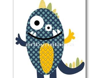 Monster Nursery Print Digital Art Digital Print Download Art Printable Nursery Baby Boy Nursery Decor Baby Art 8x10 11X14 INSTANT DOWNLOAD