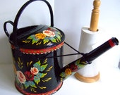 RESERVED FOR CATHY ~ Hand-Painted Traditional Canal Art ~ Large 1 and Half Gallon Steel Watering Can or Planter